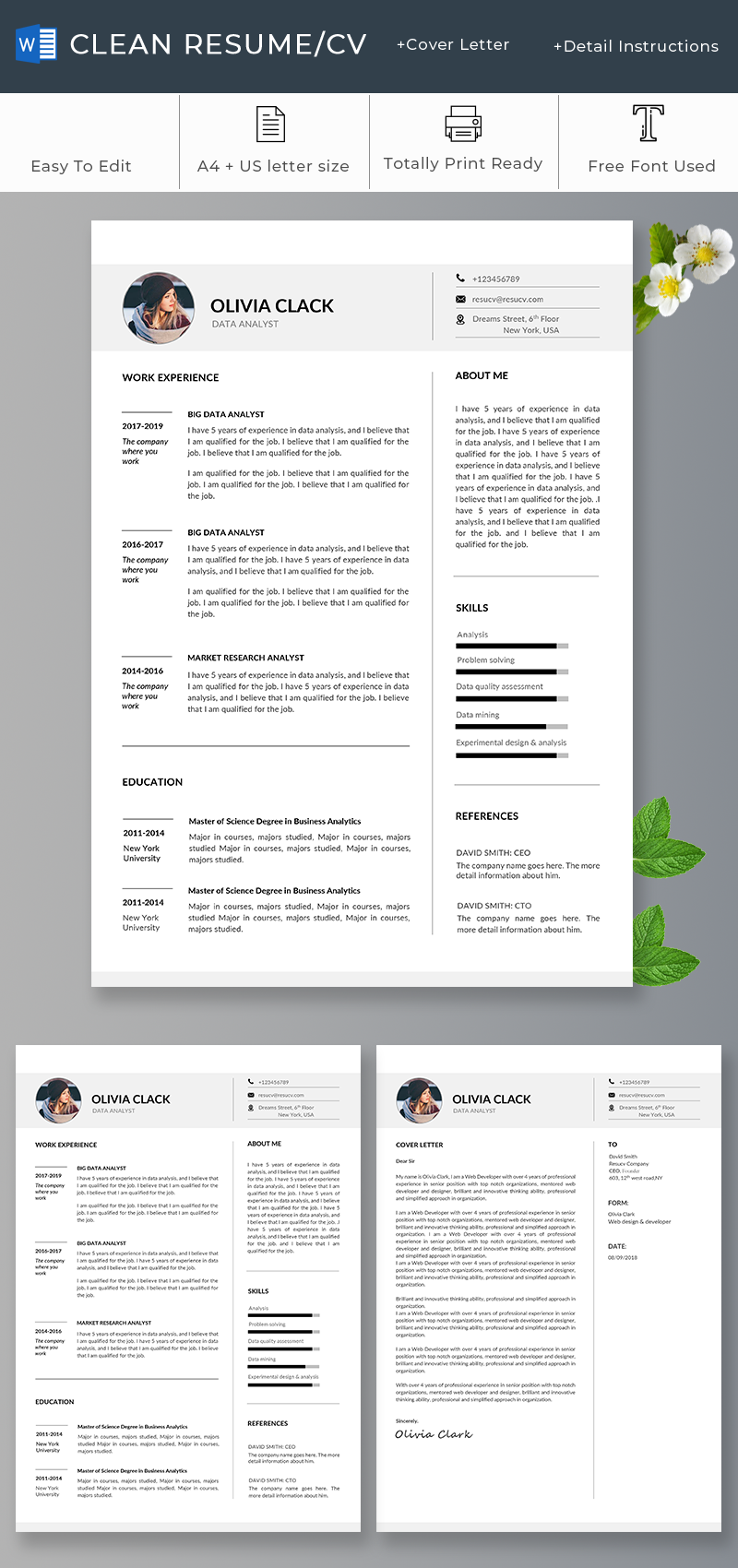 Creative Resume Template with CoverLetter, 2 page