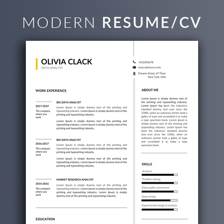 Modern and professional resume/cv template with cover letter