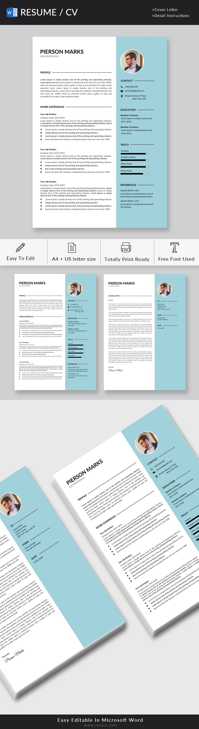 Professional Resume Template for Word, Resume/CV, Cover Letter