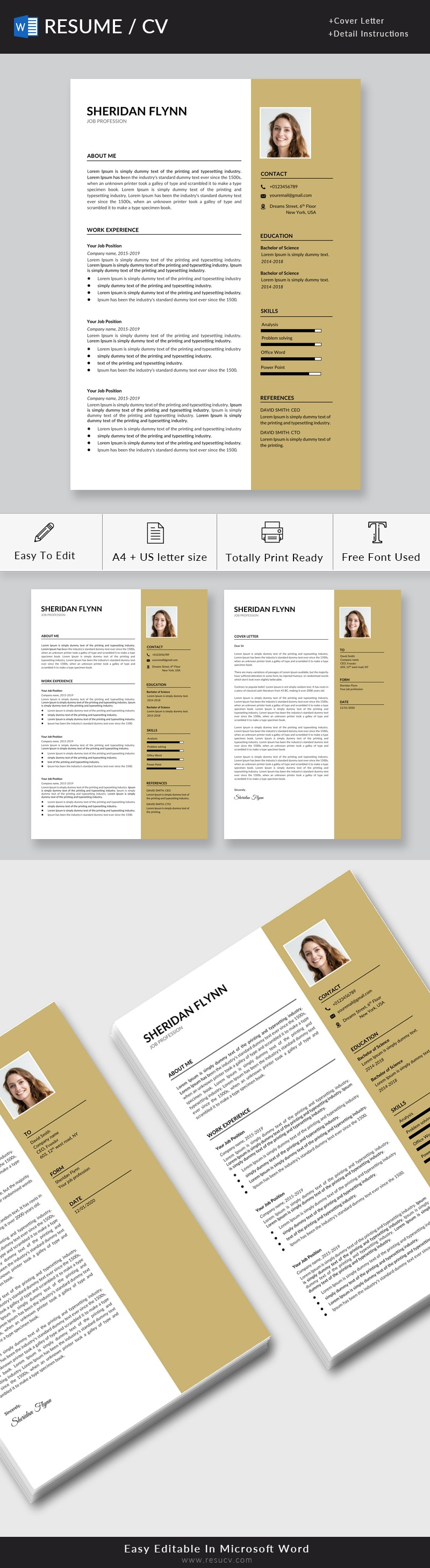 Creative Resume, MS Word Resume, Two Page, Modern Resume