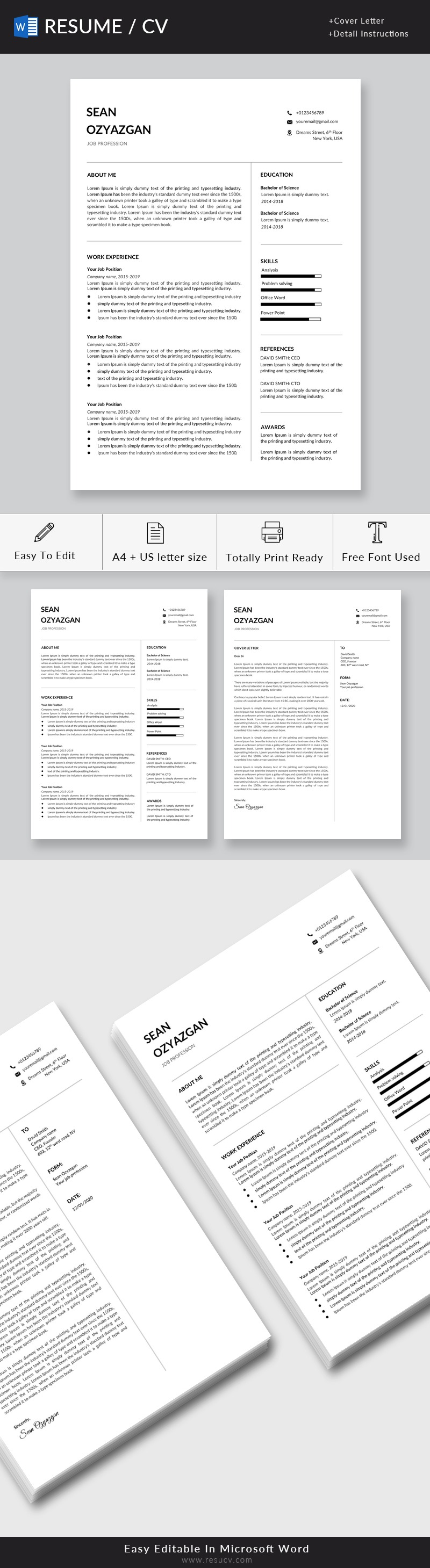 Professional Resume | Minimalist Resume Template Word | Cv Template, Marketing CV, Software Developer, Engineer
