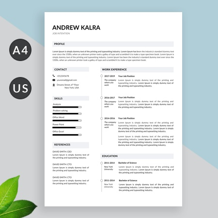 Minimalist Resume Template Word | Professional Resume | Cv Template, with cover letter
