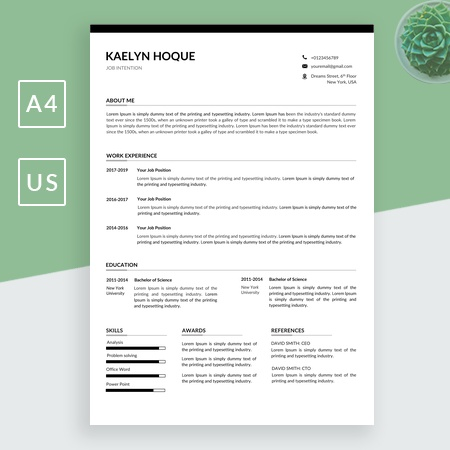 Resume template and Cover letter, Professional cv template word, Business resumes template