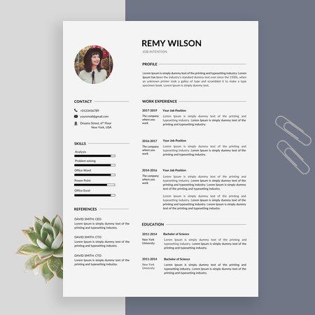 Clean and Simple Resume Template for Word, with Cover Letter, Instant Download Resume