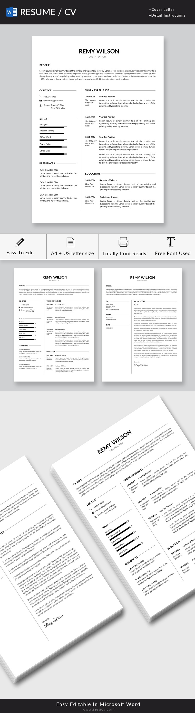 Clean Resume Template for Word with Cover Letter
