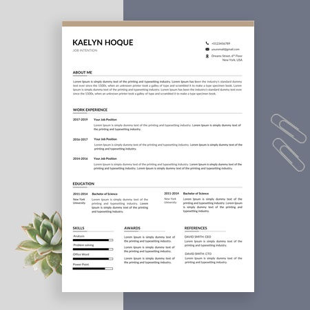 Creative Resume Template, Cv Template Instant Download, Professional Resume Template