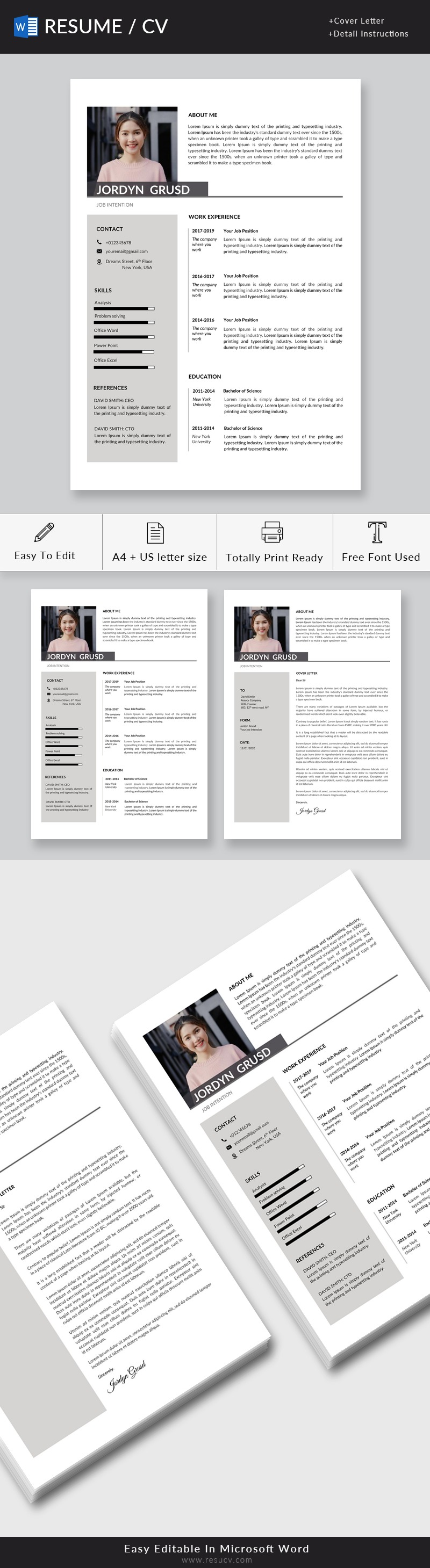 Professional Resume | Minimal Resume Template Word, Cv Template