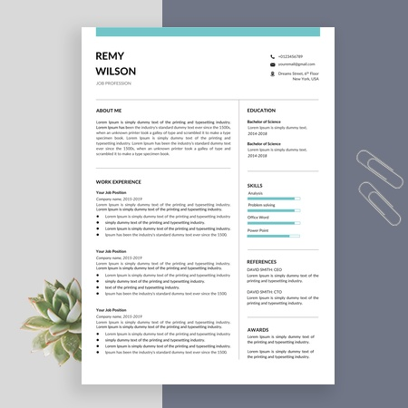 Professional Resume Template for Word | Resume/CV + Cover Letter | Instant Download