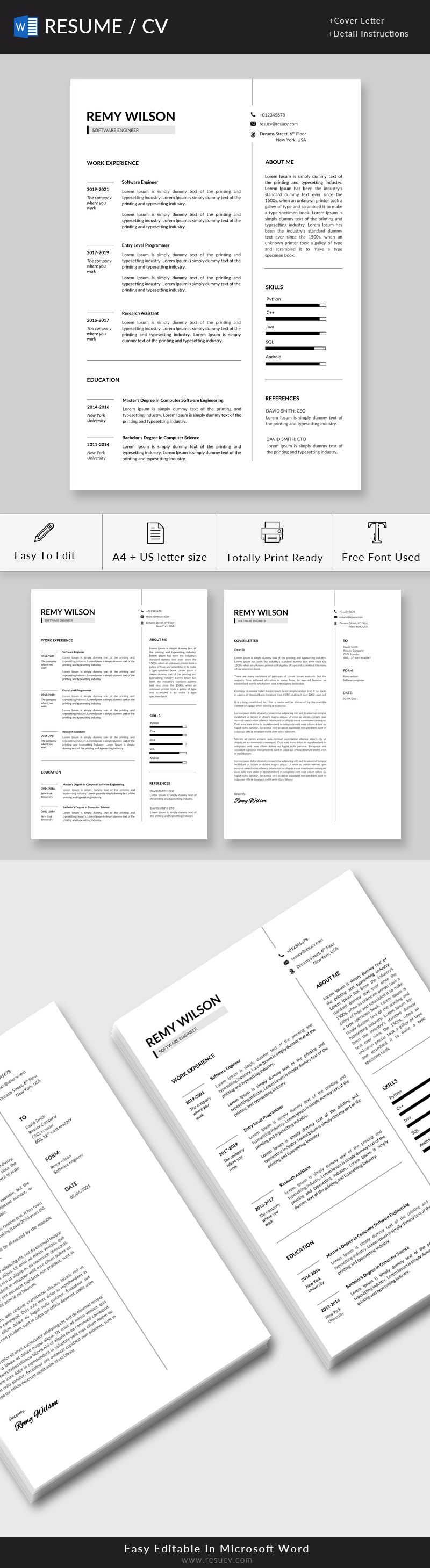 Entry Level Software Engineer Resume Template Word | Software Development Engineer Resume Example