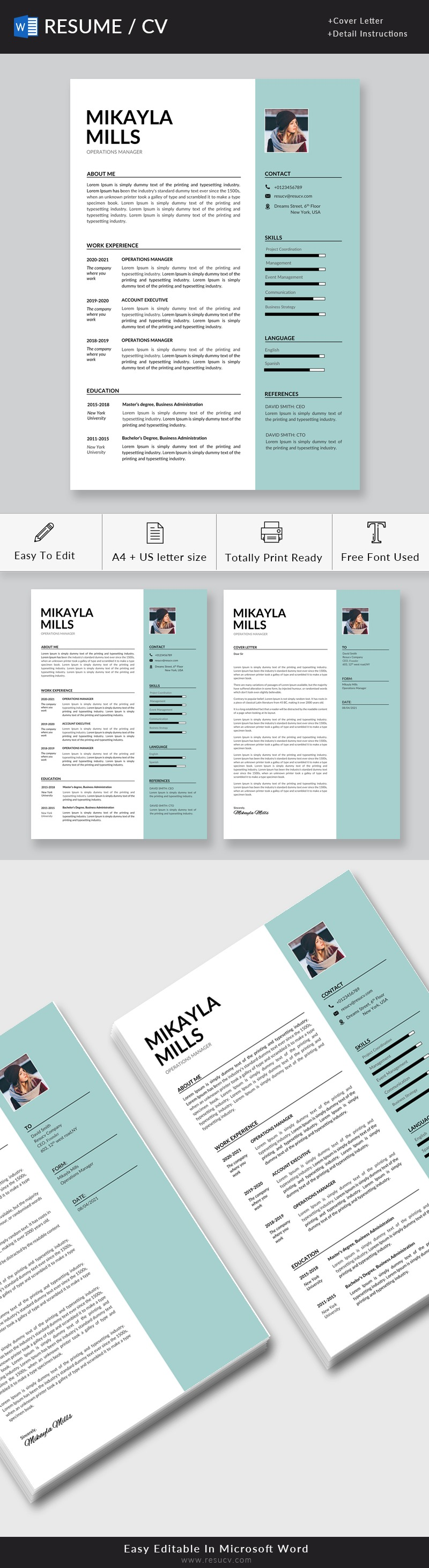 Clean Operations Manager Resume Template for Word with Cover Letter
