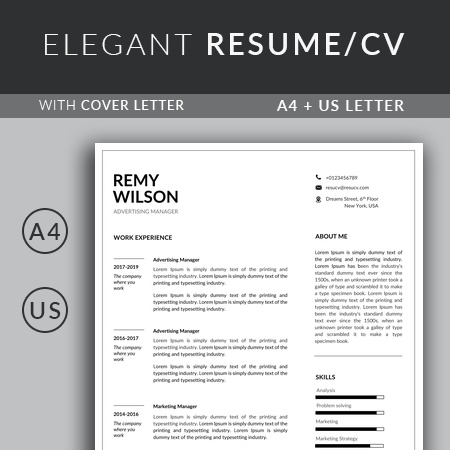 Clean Advertising Manager Resume Template with Cover Letter | Simple Resume Template
