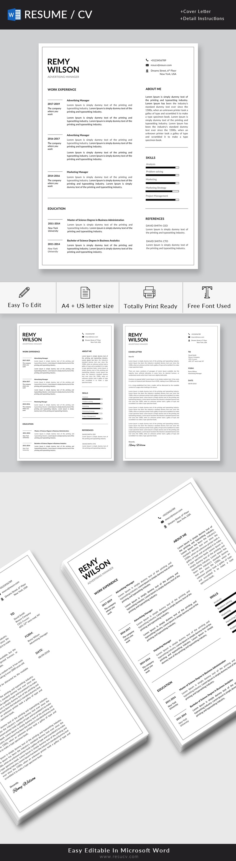 Clean Advertising Manager Resume Template with Cover Letter   Simple Resume Template