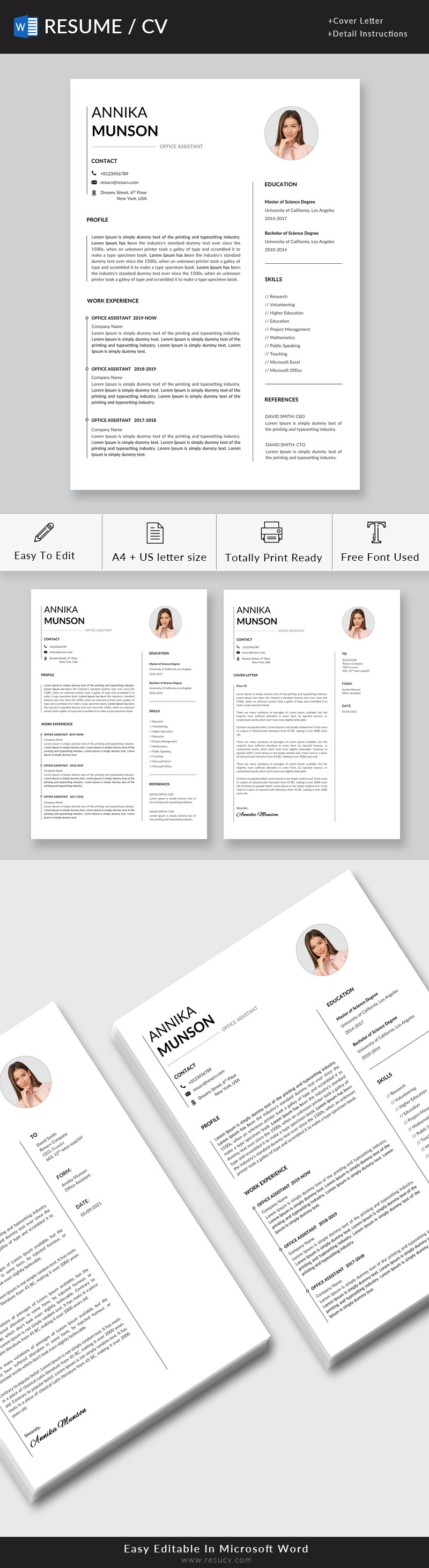 Simple Office Assistant Resume Template | Administrative Assistant Resume Word Format Download
