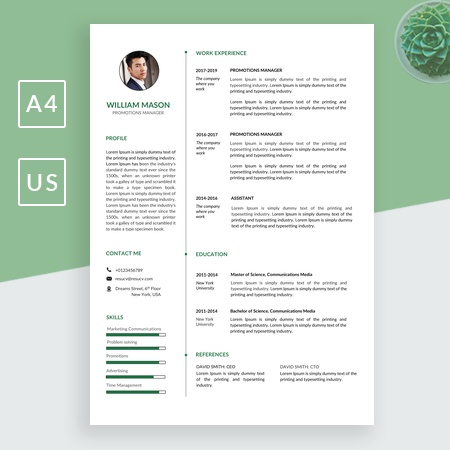 Green Clean Promotions Manager Resume/CV Template for MS Word