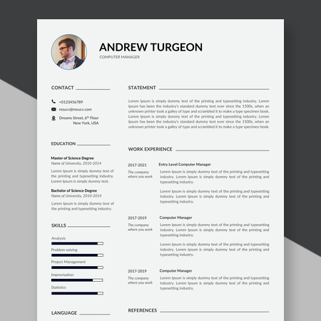 Clean Computer Manager Resume Template, Modern Resume Template, Resume Template Word Instant Download