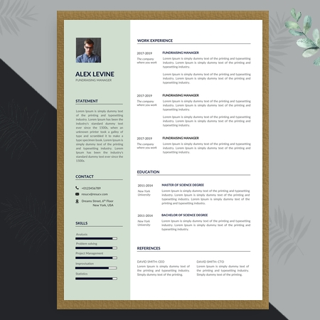 Simple Fundraising Manager Resume Template, Professional Resume Template Design, Modern Resume Template for Word