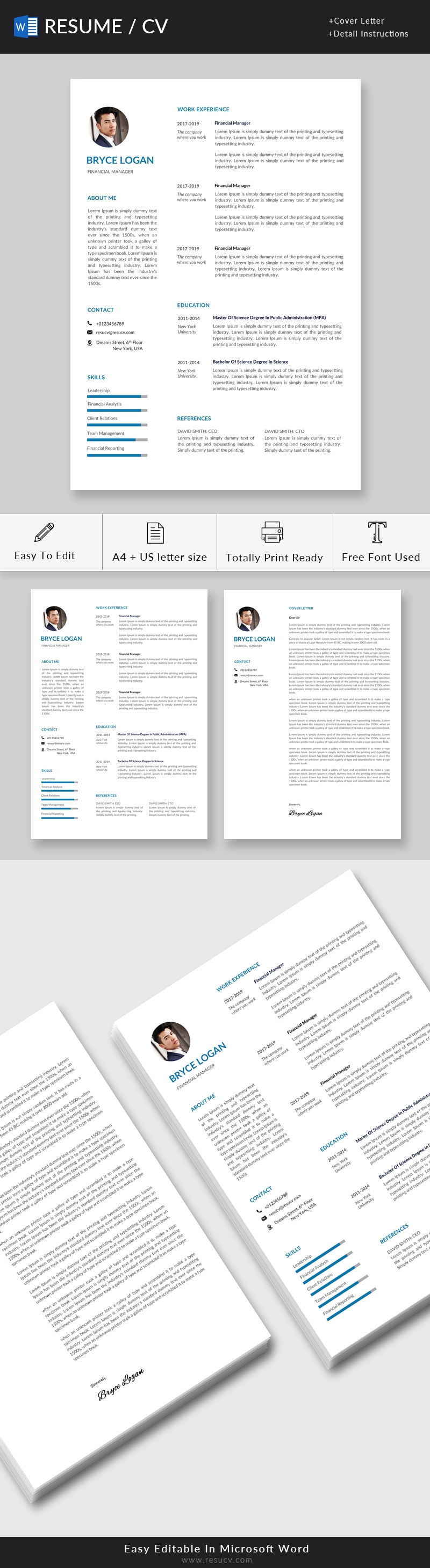 Clean Modern Financial Manager Resume Template, Best CV Template Word, One Page