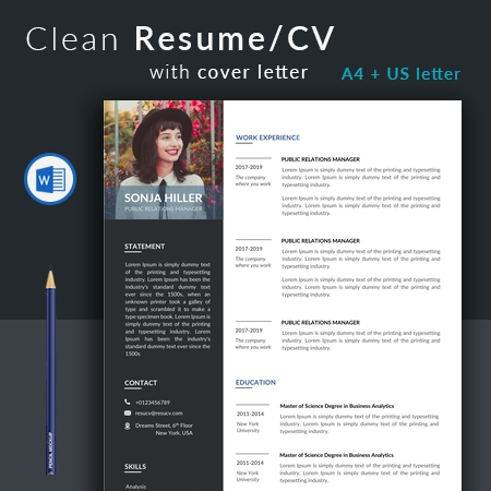 Excellent Public Relations Manager Resume Template, Modern CV Template, Modern Resume Template for Word