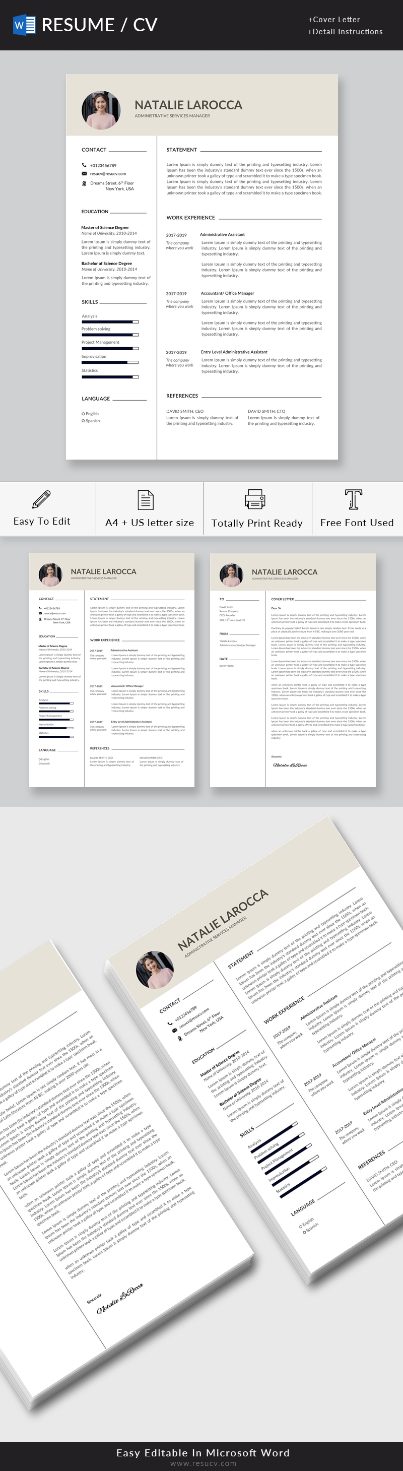 Clean Administrative Services Manager Resume Template, Nice Resume, Professional and Creative Design