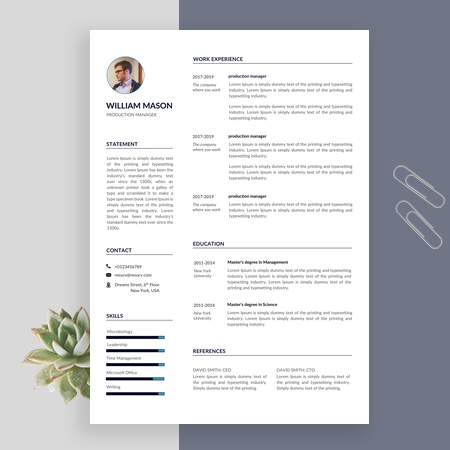 Clean Production Manager Resume Template, Simple resume template, CV Template for MS Word
