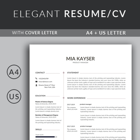 Excellent Product Manager Resume Template, Creative Resume Template for Word, Simple resume template